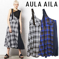 【SOLD OUT】【期間限定10%OFF】AULA AILA(アウラアイラ)CHECK ONE SHOULDER JUMPER SKIRT 1192-03021